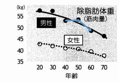 除脂肪体重の年齢推移グラフ