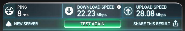 auひかりの回線速度のテスト結果