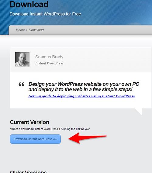 Instant WordPressのダウンロード画面でバージョンを選択