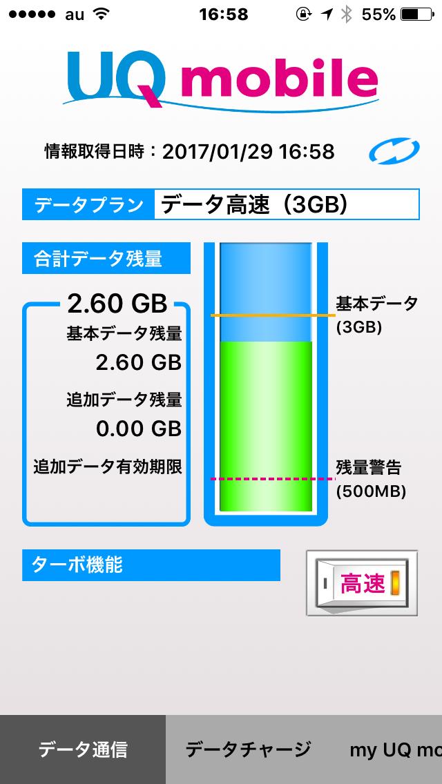 UQモバイルアプリ、高速モード