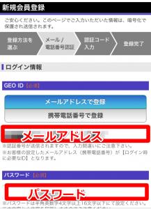 GEO ID登録画面